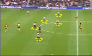 Here is an example of Sunderland employing such a tactic. The midfield five