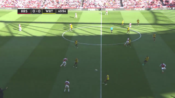 Examples of the positions the front four took, with Aubemayang and Ramsey joining Lacazette often on the front line